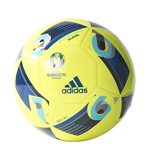 Adidas - Pallone da Calcio Beau Jeu Euro16 Glider, Colore Giallo/Blu, Taglia 5