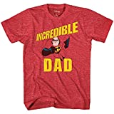 Disney Incredibles Incredible Dad Tee Funny Humor Disneyland Graphic Adult T-Shirt(Heather Red,X-Large)