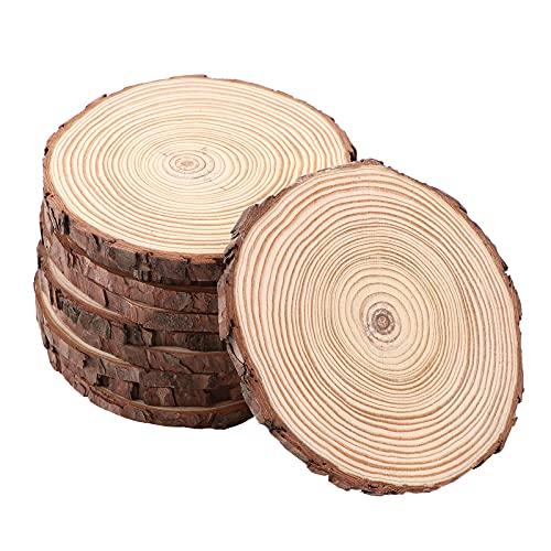 10 Stück Holzscheiben 14-15cm Holz Log Scheiben holzscheiben zum basteln Unvollendete Holzkreise aus Holz für Heimwerker Runde Naturholz Baumscheiben Holzscheiben Runde mit Rinde für Dekoration