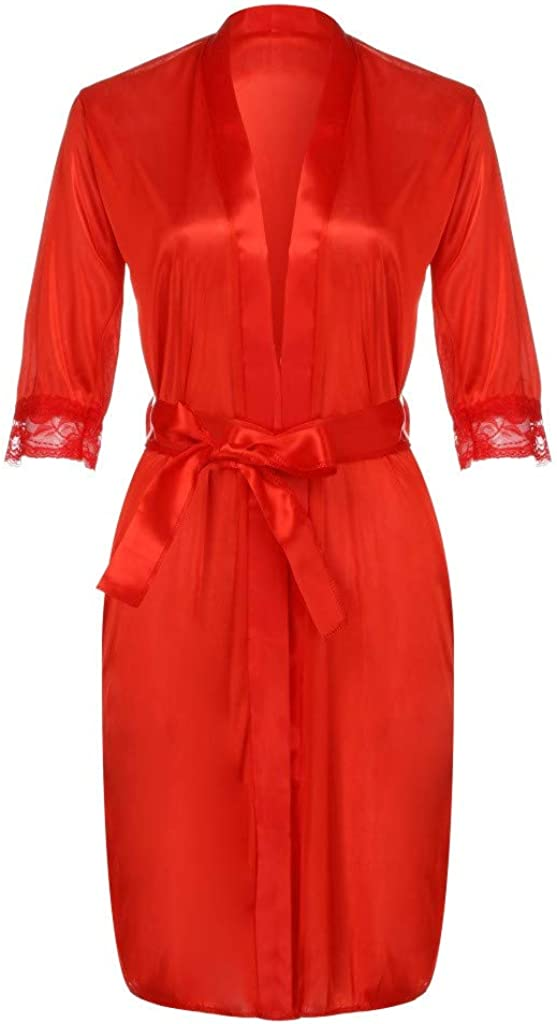 HEling Sexy Robes for Women Long Robe Knit Bathrobe Soft Sleepwear V-Neck Ladies Loungewear Satin Silk Nightdress