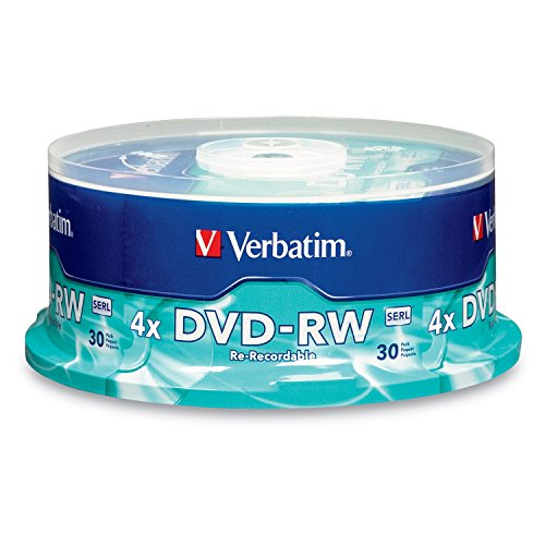 Verbatim DVD-RW 4.7GB 4X with Branded Surface - 30pk Spindle, BLUE/GRAY - 95179