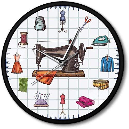 suwhao Quilting Time Seamstress Crafting Room Wall Art Klok Horloge Naaien Accessoires Naaimachine Metalen Frame Wandklok Gift Voor Haar
