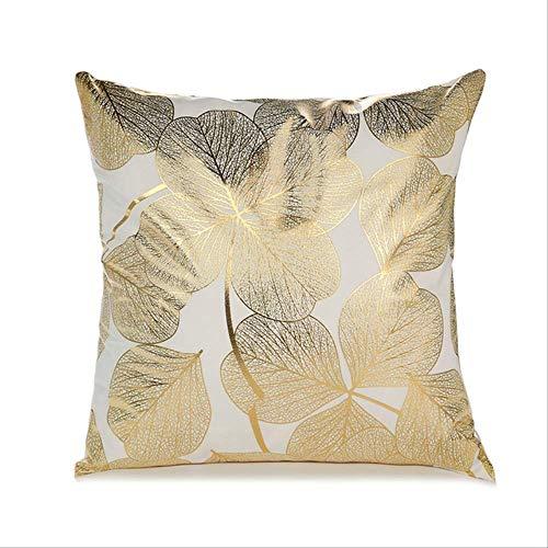 JOEYFAYE Color Oro Pintado Negro y Blanco cojín Cubierta sofá decoración Cuadrado Pillowcase Throw Pillowcase Home Car Decoration 45 * 45cm Oro-blanco5