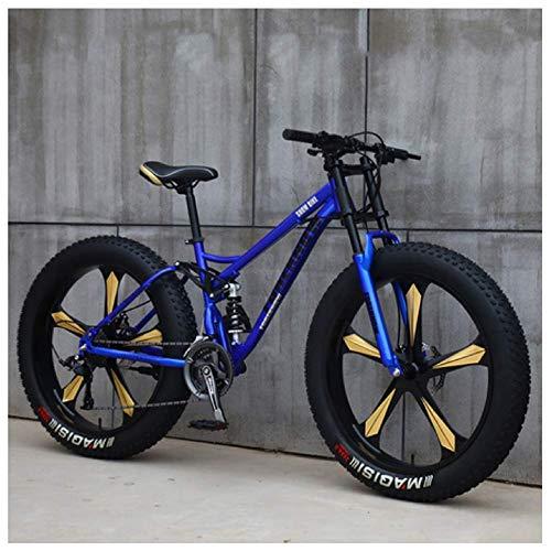 Mountain Bike 26 Pollici Fat Bike da Montagna, Telaio in Acciaio ad Alto Tenore di Carbonio Biciclette, Bicicletta Biammortizzata,27 Speed,Blue 5 Spoke
