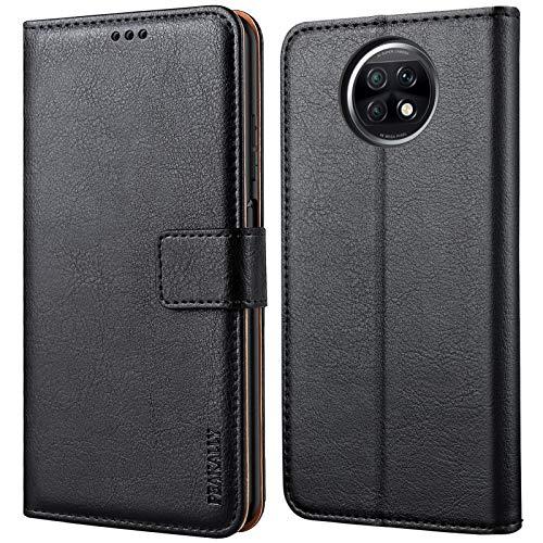Peakally Funda Xiaomi Redmi Note 9T 5G, Premium Piel Carcasa Xiaomi Redmi Note 9T 5G Cuero Fundas PU Case Suave con Concha Interna [Soporte Móvil] [Ranuras para Tarjetas] -Negro
