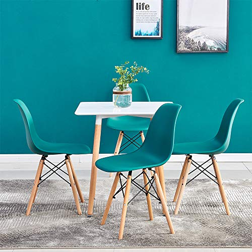 Huisen Furniture Small Dining Table and Patchwork Colorful Chairs Set of 4, 5 Pieces Kitchen White Wooden Dining Room Table and 4 Fabric Chairs for Apartment Modern Office Conversational Set