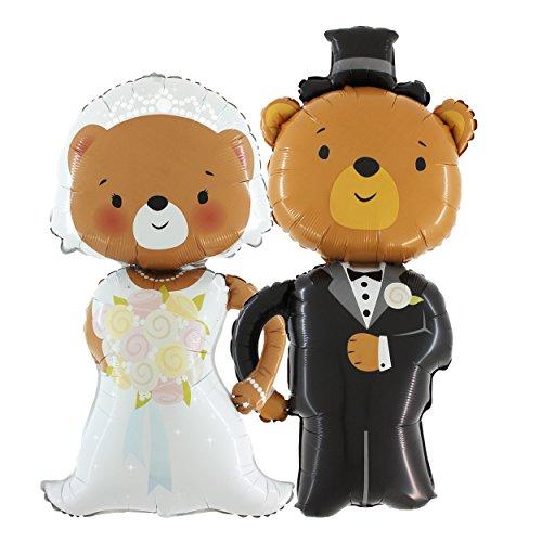 PartyMarty Das Hochzeits-Set: Brautpaar Braut & Bräutigam Bären Ballons je 110cm groß - Hochzeit Geschenk Folienballon Luftballon 20.02.2020