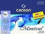 Bloc Encolado, 24X32 Cm, 100 Hojas, Canson Montval Jumbo, Grano Fino 300G, Blanco