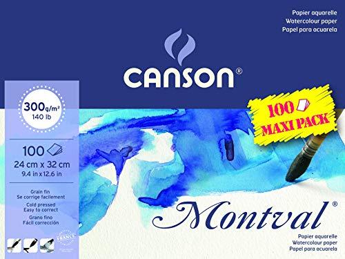Canson Montval - Bloc papel de acuarela, 24 x 32 cm, color blanco natural