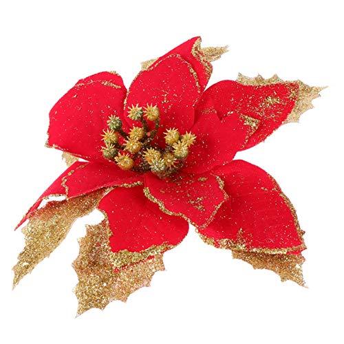 KESYOO 12 Peças de Pano de Flores de Brilho de Natal Flores Artificiais de Poinsétia Enfeites de árvore de Natal para Festa de Festa Feriado