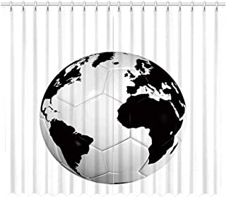 YOLIYANA Sports Decor Decorative Curtain,Soccer Ball with World Map Football Cup 2010 Entertaining Professional Game for Home Office,70