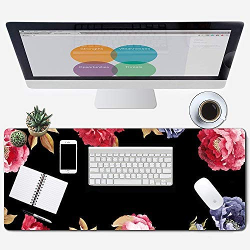 Galdas Gaming Mouse Pad Galaxy Pattern XXL XL Large Mouse Pad Mat Long Extended Mousepad Desk Pad Non-Slip Rubber Mice Pads Stitched Edges Thin Pad (31.5x11.8x0.08 Inch)-Flower