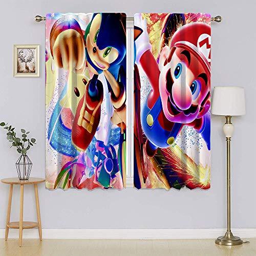 lacencn Super-Mario Characters VS Sonic Living Room Curtain Full Light Blocking Drapes Keep Warm Draperies, Sliding Door Drapes for Nursery Window Curtains W42 x L63