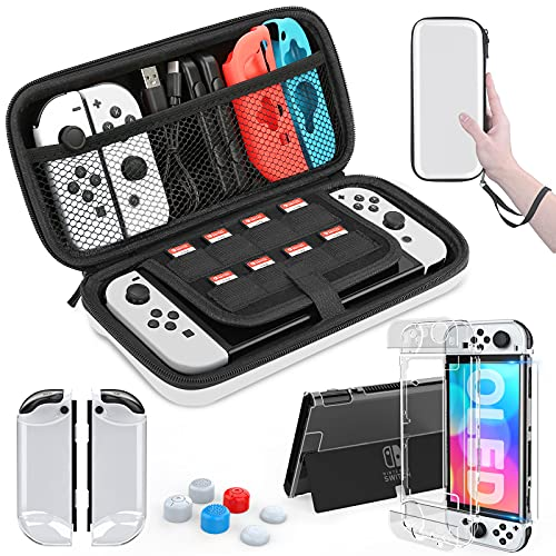 HEYSTOP Nintendo Switch OLED Model Carrying Case, 9 in 1 Accessories Kit for 2021 Nintendo Switch OLED Model with Dockable Protective Case Cover, HD Switch Screen Protector and Thumb Grip Caps (White)