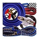 Gravity Complete 2600W 4 Gauge Amp Kit Amplifier Install Flexible Wiring Complete 4 Ga Installation Cables for Installer and DIY Hobbyist - Blue
