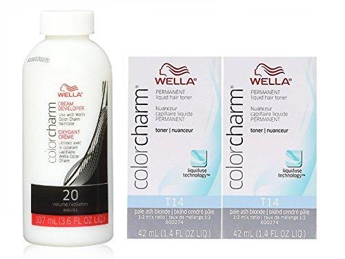 Color Charm T14 Pale Ash Blonde Liquid Permanent Hair Toner (2 pcs) w/Color Charm Developer 3.6oz Bundle