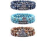 crintiff - Trois Bracelets Chouette en Perles avec tête de Hibou - Bracelets Porte Bonheur - Couleurs Turquoise, Bleu et Marron
