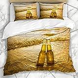 Juegos de fundas nórdicas Gradiente Amarillo Botellas de amor Cerveza en la playa Hora del atardecer Alcohol Comida Bebida Parques Arena Mar Bar Bebida Ropa de cama de microfibra con 2 fundas de almoh