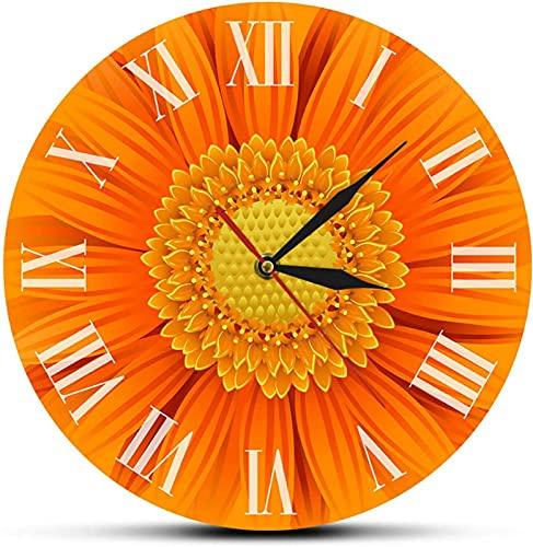 JJDSN Reloj de Pared Primer Plano de un Hermoso Reloj desorativo Gerber Naranja con números Romanos Naturaleza Margarita Flor Guirnalda Arte de la Pared Reloj de Pared Moderno