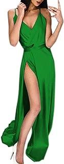 TOTOD Dress, New Sexy High-Split Spaghetti Strap Maxi Dress -Women Solid Evening Party Clubwear