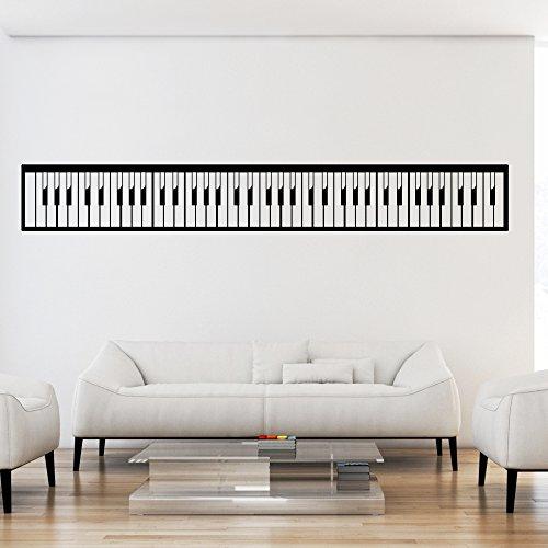 malango® Wandtattoo Piano Tastatur Wandaufkleber Musik Musikwelt Wanddekoration Tattoo Aufkleber ca. 200 x 27 cm Gold