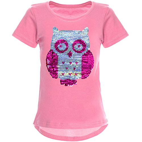 BEZLIT Mädchen Wende-Pailletten T-Shirt Tollen Eulen Motiv 22031 Dunkelrosa Größe 164