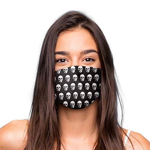 Mund Nasen Maske »Totenkopf« waschbar | Wiederverwendbare Gesichtsmaske | Community-Maske in Universalgröße | Alltagsmaske handgefertigt in der EU | in unterschiedlichen Farben, Designs und Motiven