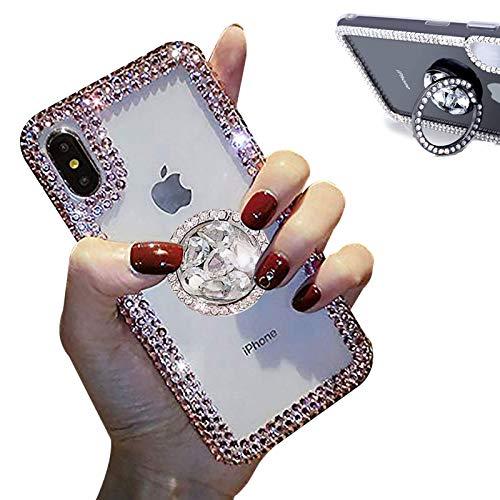 Jorisa Coque Diamant Paillettes Compatible avec iPhone 12/iPhone 12 Pro 6.1 Pouce,Brillant Scintillant Cristal Strass Bague Anneau Support Étui Fille Femme Transparent Clair Silicone Housse,Coloré
