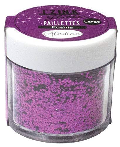 Aladine - Izink Glitter - Paillettes Tout Support - Pot de 15 g - DIY, Scrapbooking, Décoration, Carterie Créative - Couleur Fuchsia