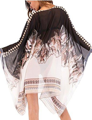 Bsubseach Mujeres Cárdigan de Gsa Verano Bohemio Talla Grande Traje de Baño de Manga Larga Cubrir Bikini Kimono