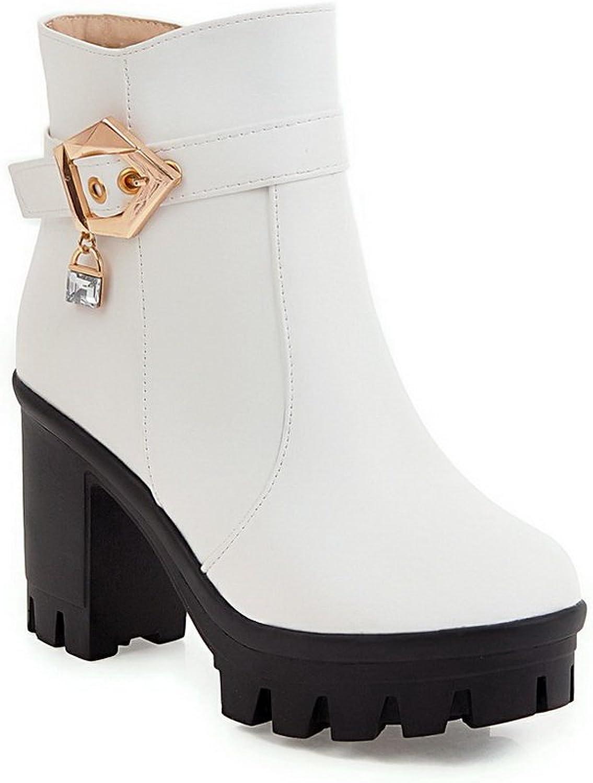 BalaMasa Womens Dress Slip-Resistant Platform Metal Buckles Urethane Boots ABL10405