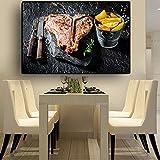 ganlanshu Pintura sin Marco Cuchillo y Tenedor de Vegetales de Cocina póster e impresión en Lienzo Arte de la Pared foodCGQ7331 60X90cm