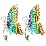 Broche de mariposa, 2 uds, Broches de mariposa esmaltados con diamantes de imitación, alfileres para mujeres, niñas, bolsas de ropa, mochilas, chaquetas, decoración(verde)