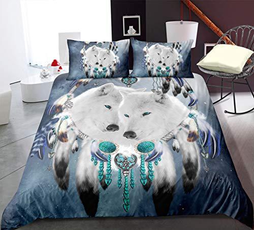 Dreamcatcher Duvet Funda con 2 Pillowcases Color De Sueño Ropa De Cama De Plumas con Cierre De Cremallera Estilo Moderno 3 Piezas De Tapa De Microfibra Suave Hipoalergénica,135 * 200cm