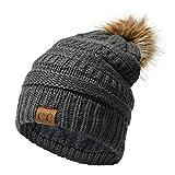 EXTSUD Bonnet à Pompons en Tricot doublé en Flocage d'hiver Chaud pour Les Femmes et...
