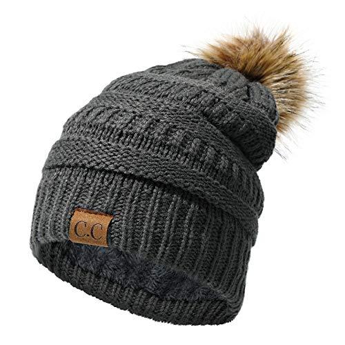EXTSUD Mütze Winter Damen, Strickmütze Wollmütze Damenhut Bommelmütze Beanie Hüte mit Innenfutter | Warm und Weich | passt alle Damen Herrren (Dunkelgrau)