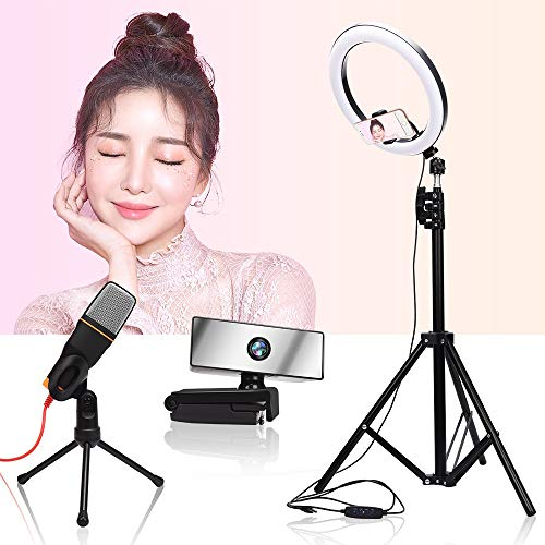 GZA LED Light Ring PHOTURY Flail Light 2M Tripod Stand Mini COMPUTADORA HD 1080P Webcam Micrófono de Mano para Maquillaje Youtube (Color : 26cm and 2m Tripod)