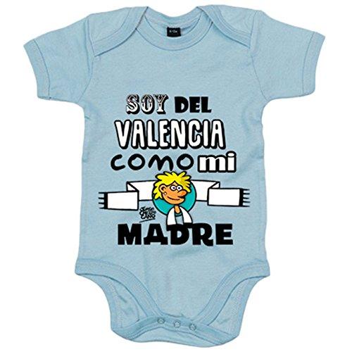 Body bebé soy del Valencia como mi madre Jorge Crespo Cano - Celeste, 6-12 meses
