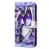 CRABOT Compatible con la Funda Samsung GalaxyA71,Funda Abatible,Resistente a Caídas,Patrón de Animales en 3D,Funda de Piel Sintética con Soporte+1*Srceen Gratis (Mariposa Morada)