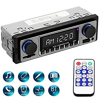 Yolispa-Autoradio-Bluetooth-Stereoanlage-mit-USBSDAUX-Anschluss-4-x-60-W-Auto-Audio-FM-Radio-Digitaler-MP3-Player-Freisprechen-mit-Fernbedienung