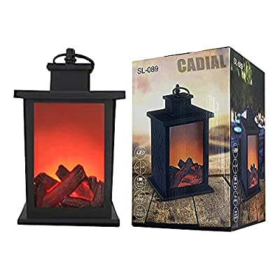 Flameless Fireplace Light, Cadial Artificial Led Fireplace with Realistic Log Wood Burning Flame Portable Tabletop Fire Flame Light for Indoor/Outdoor Decoration (A Black, 14 x 24CM)