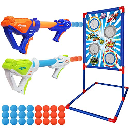 Shooting Game Toy for 5 6 7 8 9 10+ Years Old Kids Boys, 2 Foam Ball Popper Guns & Shooting Target with 24pcs Foam Balls, Indoor Outdoor Game for Kids, Ideal Gift, Compatible with Nerf Toy Gun TOPMINO