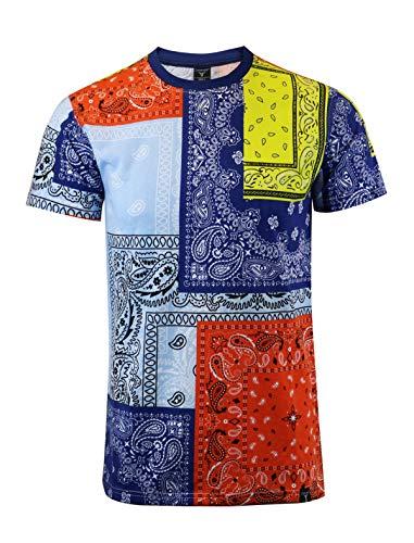 SCREENSHOTBRAND-S11011 Mens Hipster Hip-Hop Premium Tee - Multicolor Bandana Patchwork Retro Print T-Shirt-Navy-Large