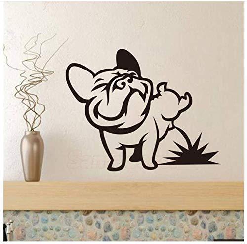 Adesivi murali Pissing del cane Bulldog francese Vinyl Wall Art Murale Decalcomania Soggiorno Cars Tablet Wallpaper Kids Room Home Decor 2 pezzi