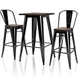 """VIPEK 2pcs 30 Inches Height Metal Bar Chairs 1 pc 41.3"""" High Bar Table Set with Solid Elm Wooden Top High Back Bar Stool for Indoor Kitchen Restaurant Dining Table Outdoor Patio Bistro, Gloss Black"""