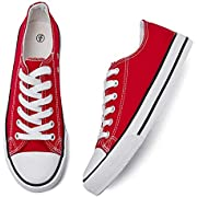Adokoo Womens Canvas Shoes Casual Cute Sneakers Low Cut Lace up Fashion Comfortable for Walking(Red,US8