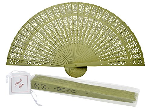 "Quasimoon PaperLanternStore.com 8"" Chartreuse Chinese Folding Wood Panel Hand Fan w/White Organza Bag for Weddings"