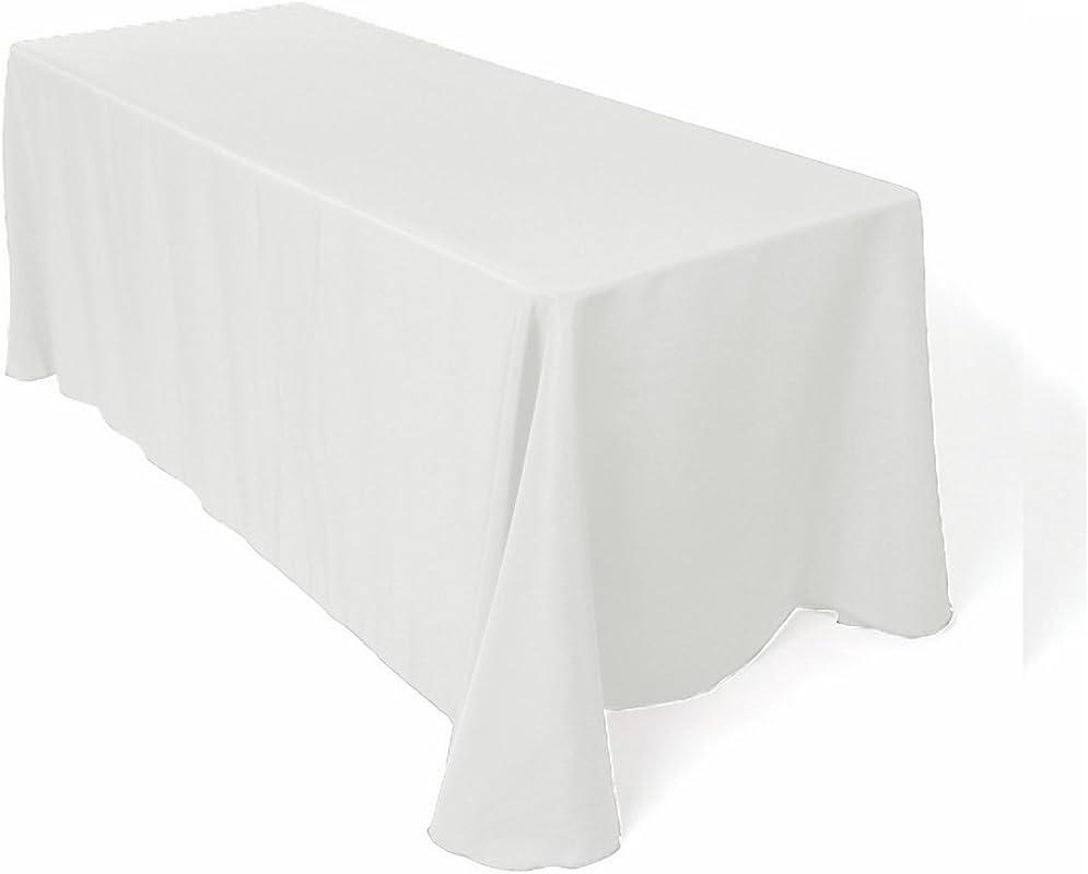 Ks Linens Polyester Rectangular Tablecloth 90 X108 White