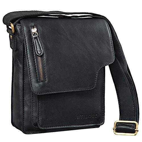 STILORD 'Pete' Umhängetasche Leder klein Männer Schultertasche Vintage Messenger Bag Herren 8,4 Zoll Tablettasche echtes Leder, Farbe:schwarz