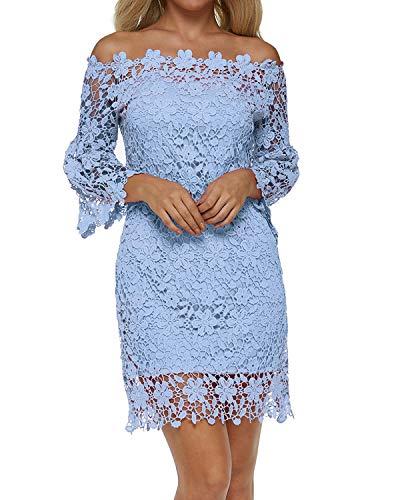 Auxo Damen Schulterfreie Langarm Kleider mit Spitze Elegant Blumen Kurz Abend Etuikleid Blau EU 36/Etikettgröße S